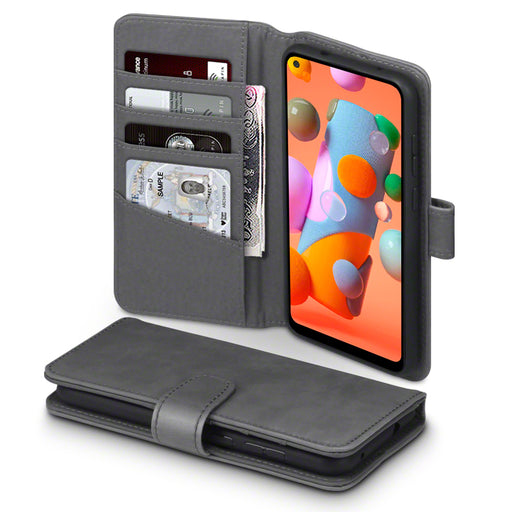 Terrapin Samsung Galaxy A11 Real Leather Wallet Case - Grey