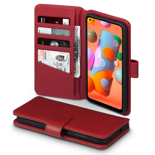 Terrapin Samsung Galaxy A11 Real Leather Wallet Case - Red