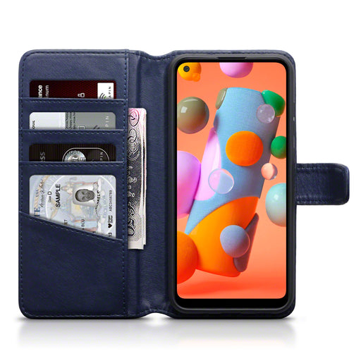Terrapin Samsung Galaxy A11 Real Leather Wallet Case - Blue