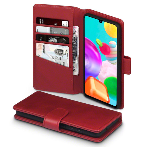 Terrapin Samsung Galaxy A41 Real Leather Wallet Case - Red
