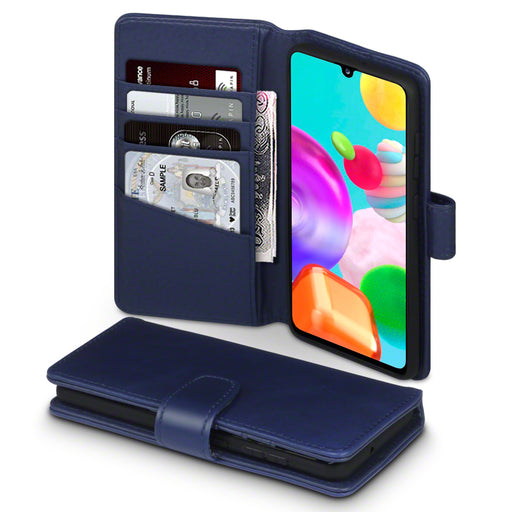 Terrapin Samsung Galaxy A41 Real Leather Wallet Case - Blue