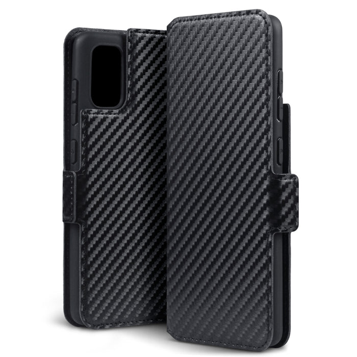 Terrapin Samsung Galaxy A41 Low Profile PU Leather Wallet Case - Black Carbon Fibre Texture