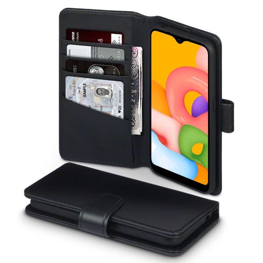 Terrapin Samsung Galaxy A01 Real Leather Wallet Case - Black