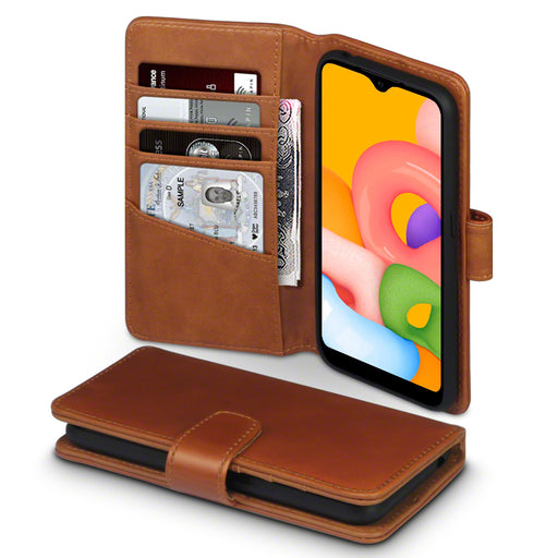 Terrapin Samsung Galaxy A01 Real Leather Wallet Case - Cognac