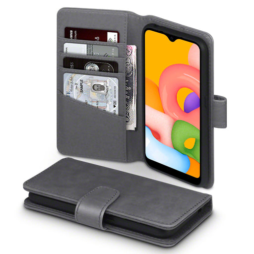 Terrapin Samsung Galaxy A01 Real Leather Wallet Case - Grey