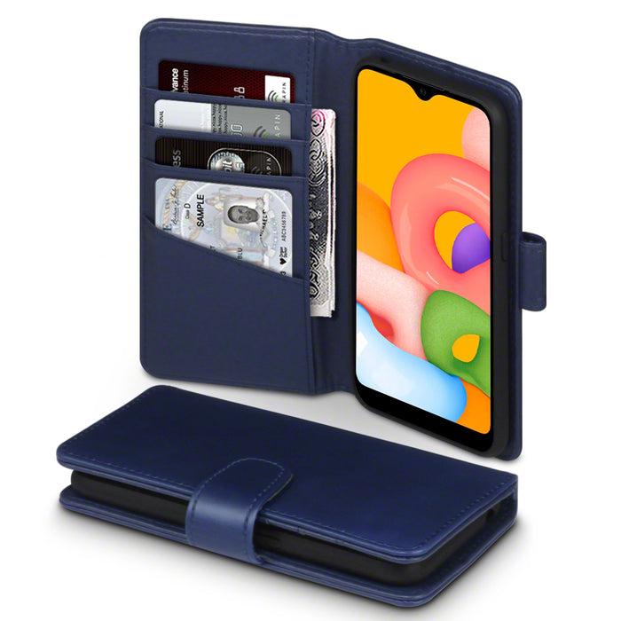 Terrapin Samsung Galaxy A01 Real Leather Wallet Case - Blue
