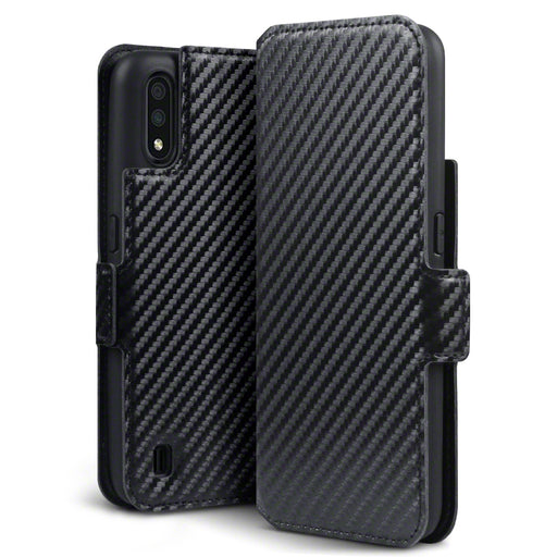 Terrapin Samsung Galaxy A01 Low Profile PU Leather Wallet Case - Black Carbon Fibre Texture