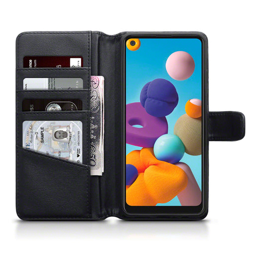Terrapin Samsung Galaxy A21 Real Leather Wallet Case - Black