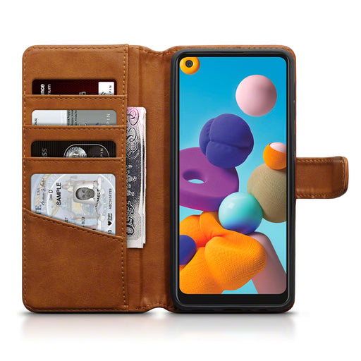 Terrapin Samsung Galaxy A21 Real Leather Wallet Case - Cognac