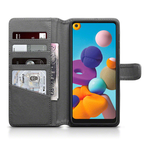 Terrapin Samsung Galaxy A21 Real Leather Wallet Case - Grey
