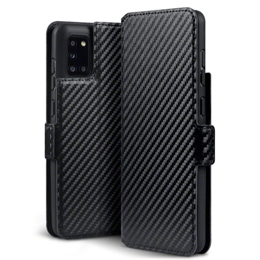 Terrapin Samsung Galaxy A31 Low Profile PU Leather Wallet Case - Black Carbon Fibre Texture
