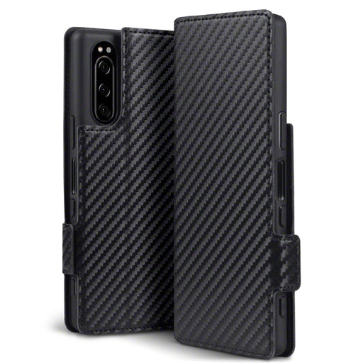Terrapin Sony Xperia 2 Low Profile PU Leather Wallet Case - Black Carbon Fibre Texture