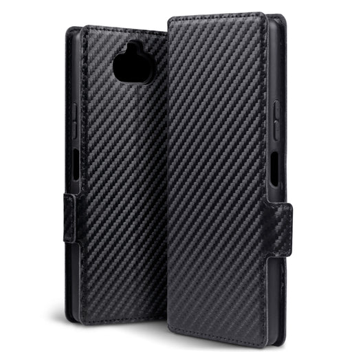 Terrapin Sony Xperia 20 Low Profile PU Leather Wallet Case - Black Carbon Fibre Texture