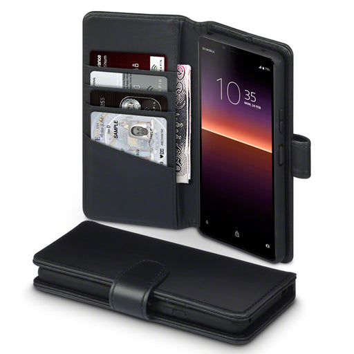 Terrapin Sony Xperia 10 II Real Leather Wallet Case - Black