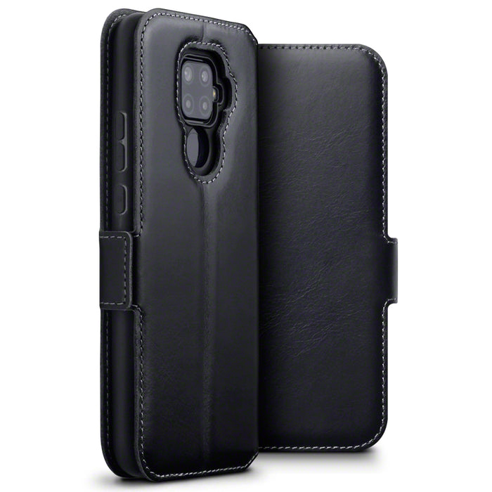 Terrapin Huawei Mate 30 Lite Low Profile Genuine Leather Wallet Case - Black