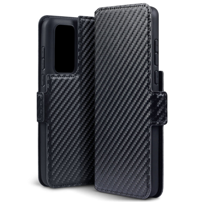Terrapin Huawei P40 Low Profile PU Leather Wallet Case - Black Carbon Fibre Texture