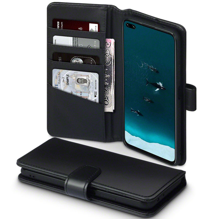 Terrapin Huawei Honor V30 Real Leather Wallet Case - Black