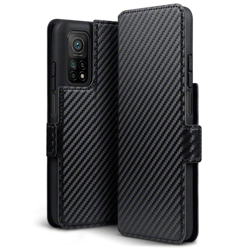 Terrapin Xiaomi Mi 10T 5G / 10T Pro 5G Low Profile PU Leather Wallet Case - Black Carbon Texture