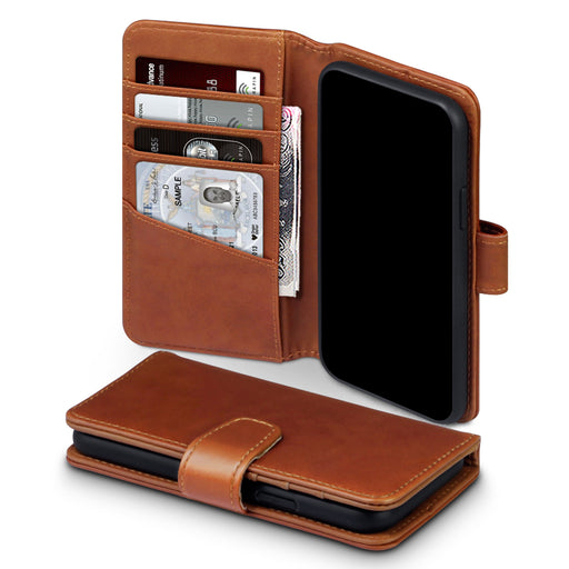 Terrapin Apple iPhone 2019 5.8 Inch Genuine Leather Wallet Case - Cognac
