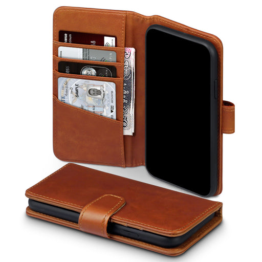 Terrapin Apple iPhone 2019 6.1 Inch Genuine Leather Wallet Case - Cognac