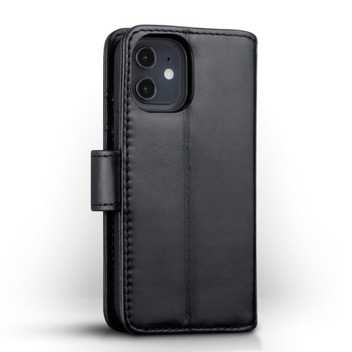 Terrapin iPhone 12 5.4 Inch Real Leather Wallet Case - Black