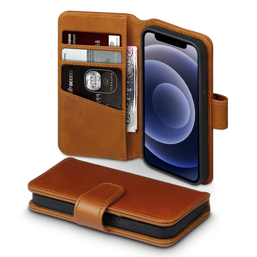 Terrapin iPhone 12 5.4 Inch Real Leather Wallet Case - Cognac