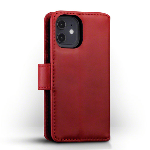 Terrapin iPhone 12 5.4 Inch Real Leather Wallet Case - Red