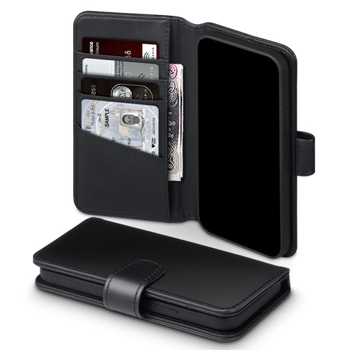 Terrapin iPhone 12 6.1 Inch Real Leather Wallet Case - Black