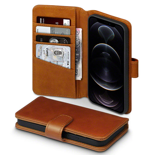 Terrapin iPhone 12 6.1 Inch Real Leather Wallet Case - Cognac
