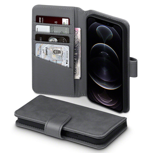 Terrapin iPhone 12 6.1 Inch Real Leather Wallet Case - Grey