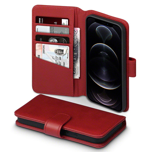 Terrapin iPhone 12 6.1 Inch Real Leather Wallet Case - Red