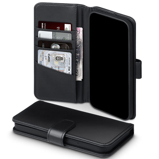 Terrapin iPhone 12 6.7 Inch Real Leather Wallet Case - Black