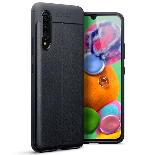 Terrapin Samsung Galaxy A90 5G Leather Texture Design TPU Gel Case - Black