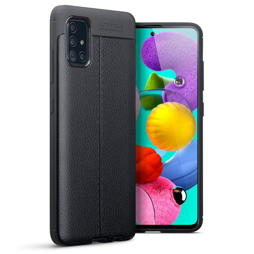 Terrapin Samsung Galaxy A51 Leather Texture TPU Gel Case - Black