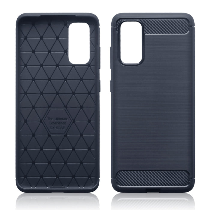 Terrapin Samsung Galaxy S20 Carbon Fibre Brushed Effect TPU Gel Case - Dark Blue