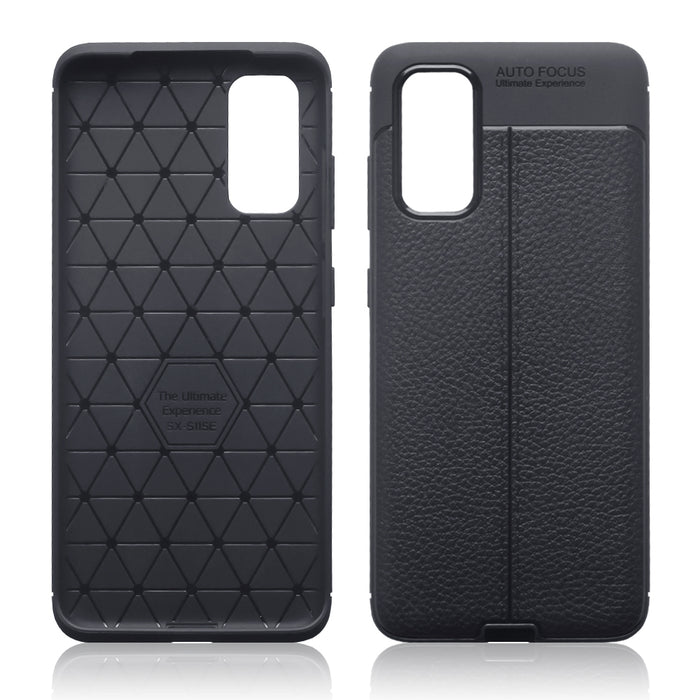 Terrapin Samsung Galaxy S20 Leather Texture TPU Gel Case - Black