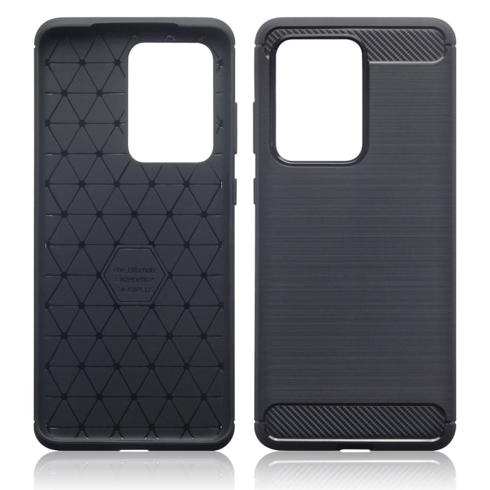 Terrapin Samsung Galaxy S20 Ultra Carbon Fibre Brushed Effect TPU Gel Case - Black