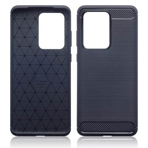 Terrapin Samsung Galaxy S20 Ultra Carbon Fibre Brushed Effect TPU Gel Case - Dark Blue