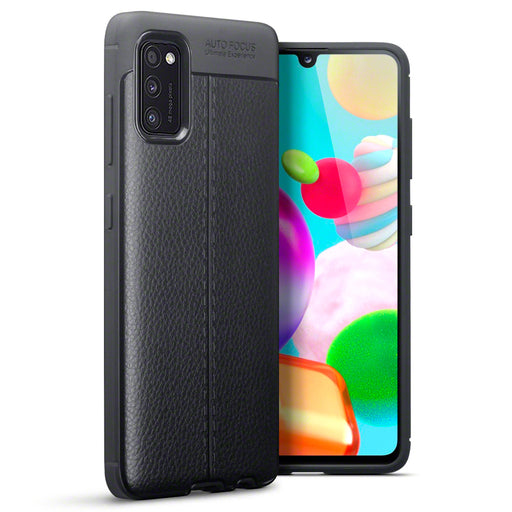 Terrapin Samsung Galaxy A41 Leather Texture TPU Gel Case - Black