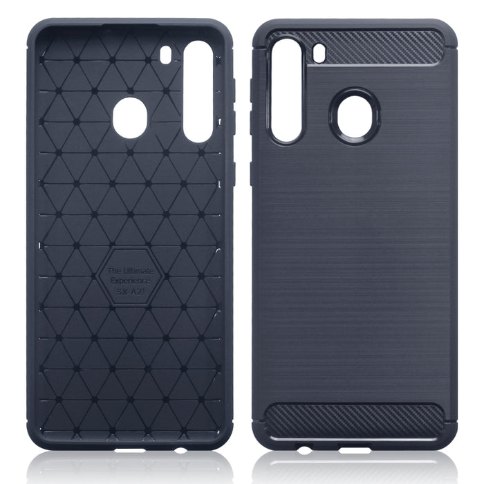 Terrapin Samsung Galaxy A21 Carbon Fibre Effect TPU Gel Case - Dark Blue