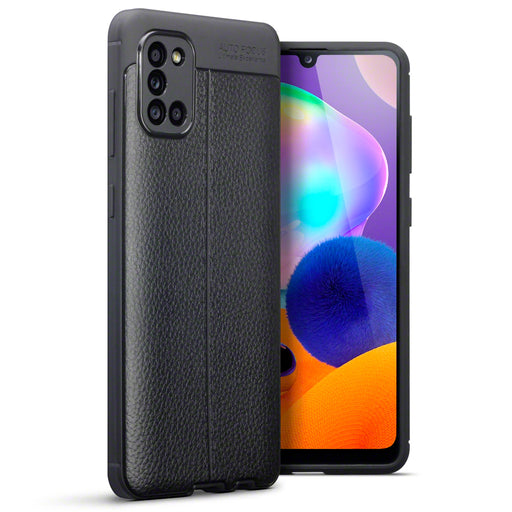 Terrapin Samsung Galaxy A31 Leather Texture TPU Gel Case - Black