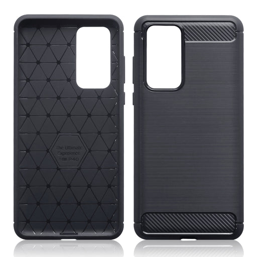 Terrapin Huawei P40 Carbon Fibre Brushed Effect TPU Gel Case - Black