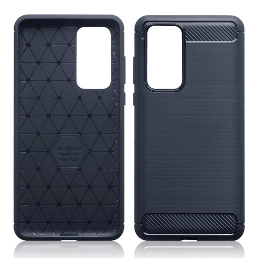 Terrapin Huawei P40 Carbon Fibre Brushed Effect TPU Gel Case - Dark Blue