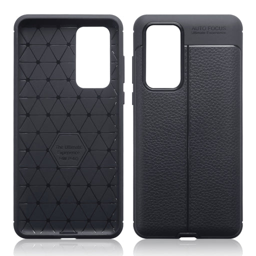 Terrapin Huawei P40 Leather Texture Design TPU Gel Case - Black