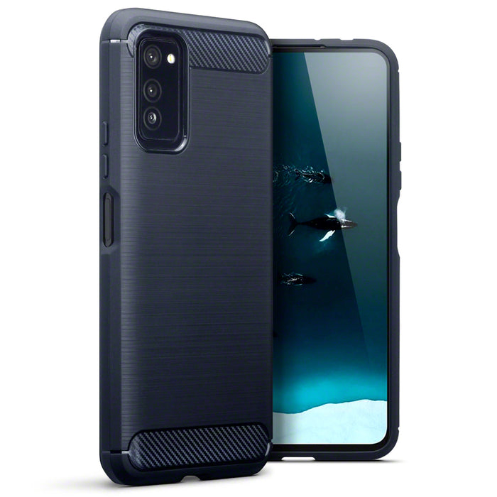 Terrapin Huawei Honor V30 Carbon Fibre Brushed Effect TPU Gel Case - Dark Blue