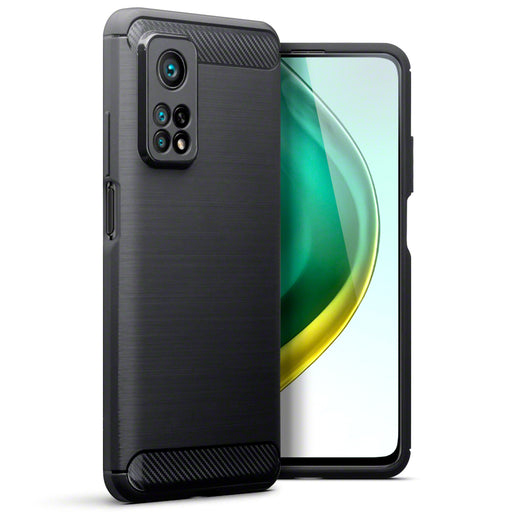 Terrapin Xiaomi Mi 10T 5G / 10T Pro 5G Carbon Fibre Brushed Effect TPU Gel Case - Black