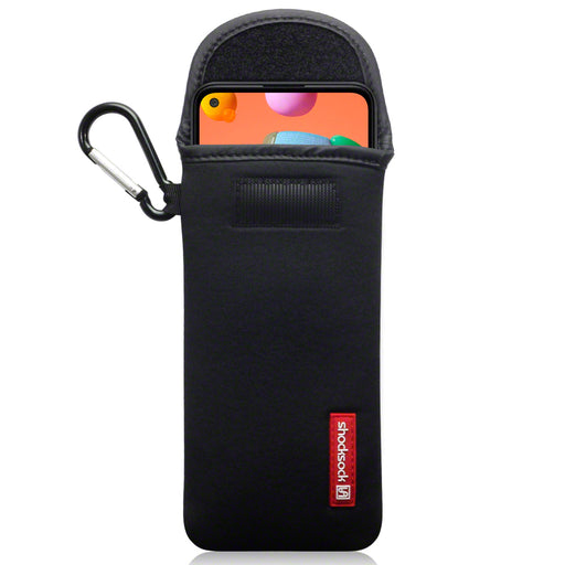 Shocksock Samsung Galaxy A11  Neoprene Pouch Case with Carabiner - Black