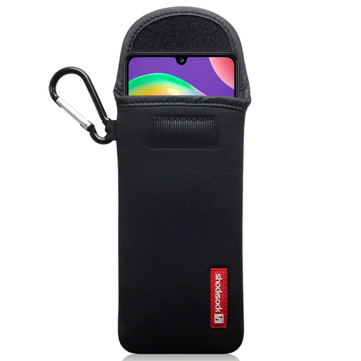 Shocksock Samsung Galaxy A31  Neoprene Pouch Case with Carabiner - Black