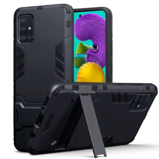 Terrapin Samsung Galaxy A51 Dual Layer Shock Resistant Case with Stand - Black