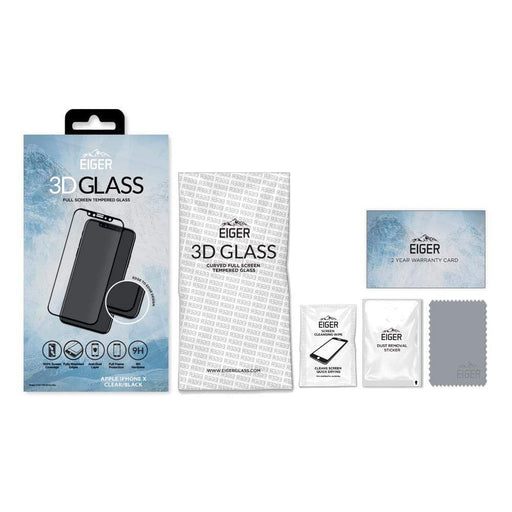 Eiger Screen Protection Eiger 3D GLASS Full Screen Glass Screen Protector for Apple iPhone XS/X in Clear/Black